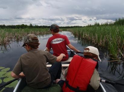 boys in canoe at narrows_resize